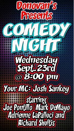 DONOVAN'S PUB Presents COMEDY NIGHT Wednesday September 23rd @ 8 PM!